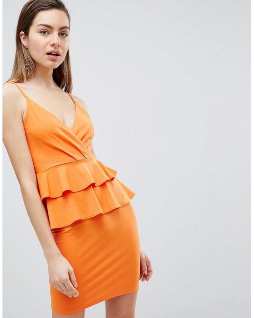 Ivyrevel - Orange Cami Mini Dress With Double Ruffle Peplum - Lyst