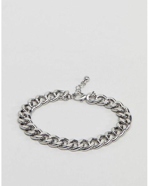 Серебристый Браслет-цепочка ASOS для него, цвет: Metallic