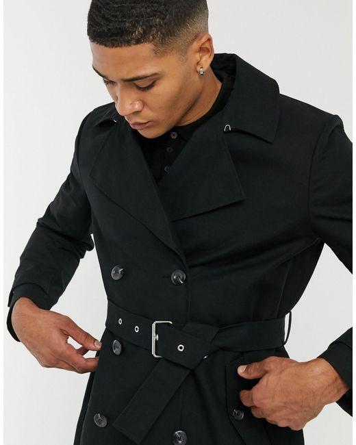 Черный Непромокаемый Двубортный Тренч ASOS для него, цвет: Black