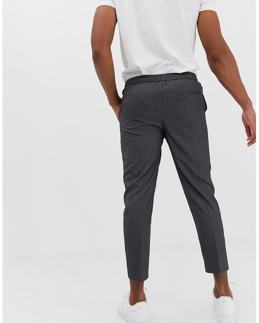 f71fcf2d1fe7 ... New Look - Gray Slim Fit Cropped Trousers In Grey Pinstripe for Men -  Lyst