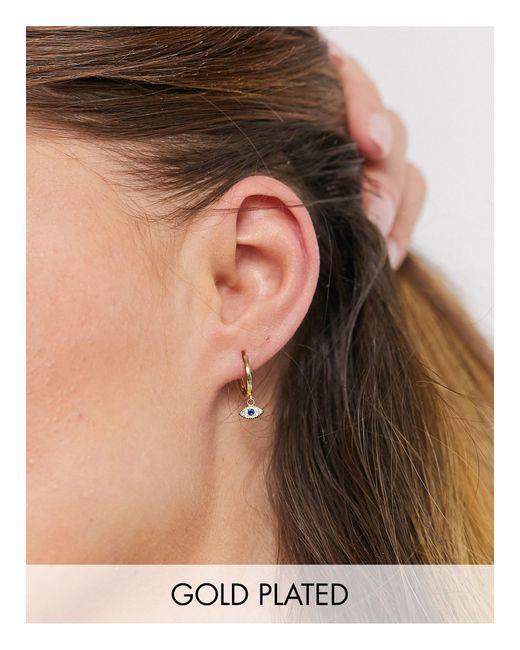 Shashi Metallic Embellished Eye Drop huggy Hoop Earrings