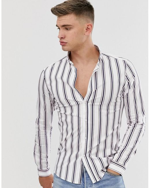 ASOS Skinny Gestreept Overhemd In Wit in het White voor heren