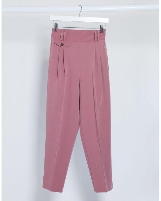 Брюки С Завышенной Талией ASOS, цвет: Pink