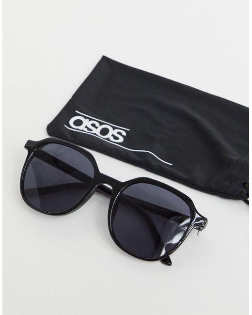 Occhiali da sole rotondi esagonali color nero lucido di ASOS in Black