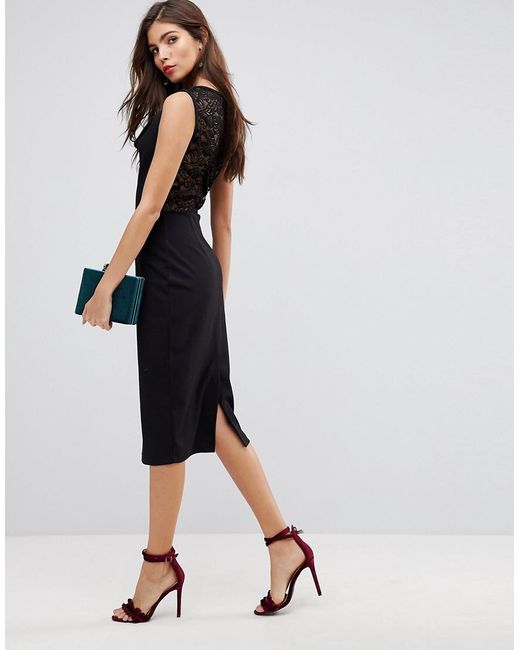 ASOS Cowl Front Midi Pencil Dress with Lace Back Brand New Unisex Online Eastbay For Sale Free Shipping Enjoy 2xW4XFNIz