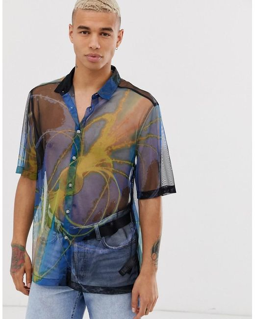 ASOS Blue Relaxed Mesh Shirt With Space Print for men