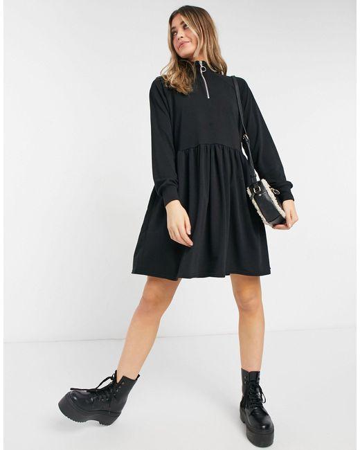 New Look Black Zip High Neck Sweatshirt Dress