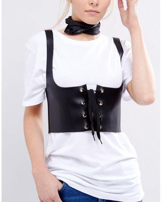 ASOS | Black Harness Detail Corset Waist Belt | Lyst