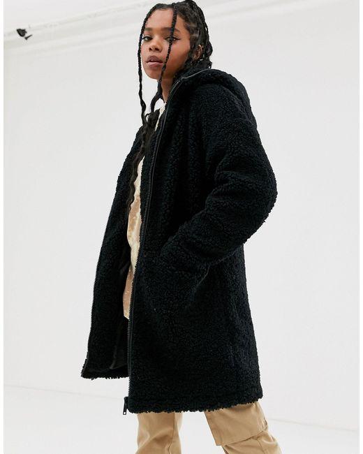 Noisy May Black – e Teddyfell-Jacke mit Reißverschluss