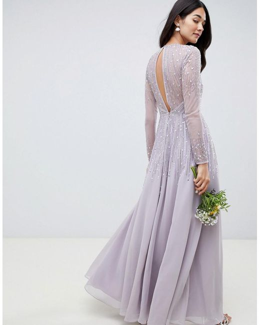 98a7f303f0 ... ASOS - Gray Maxi Dress In Delicate Linear Sequin With Long Sleeves -  Lyst