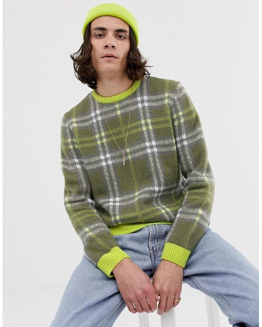 f956939c ASOS - Relaxed Fit Textured Check Jumper In Neon Green for Men - Lyst ...