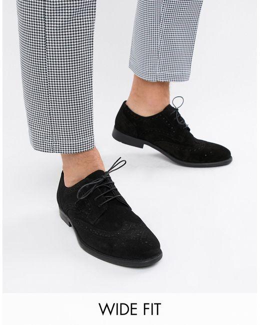 Черные Замшевые Дерби-броги Для Широкой Стопы ASOS для него, цвет: Black
