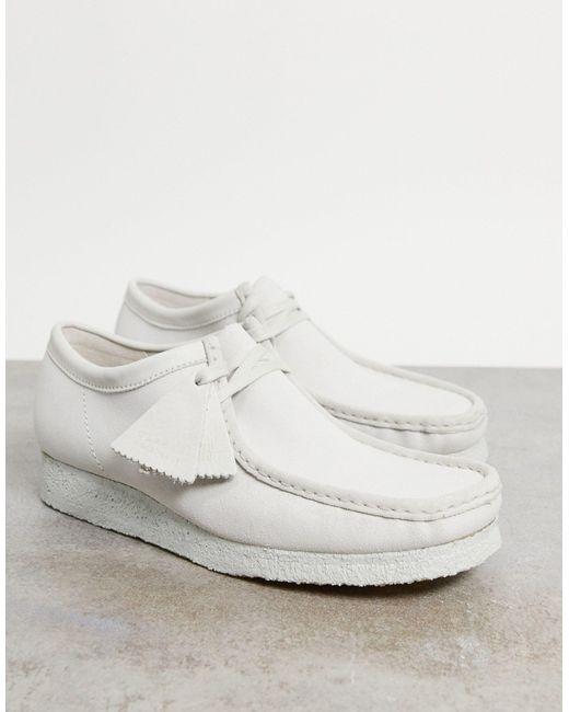 Белые Замшевые Туфли Wallabee-белый Clarks для него, цвет: White