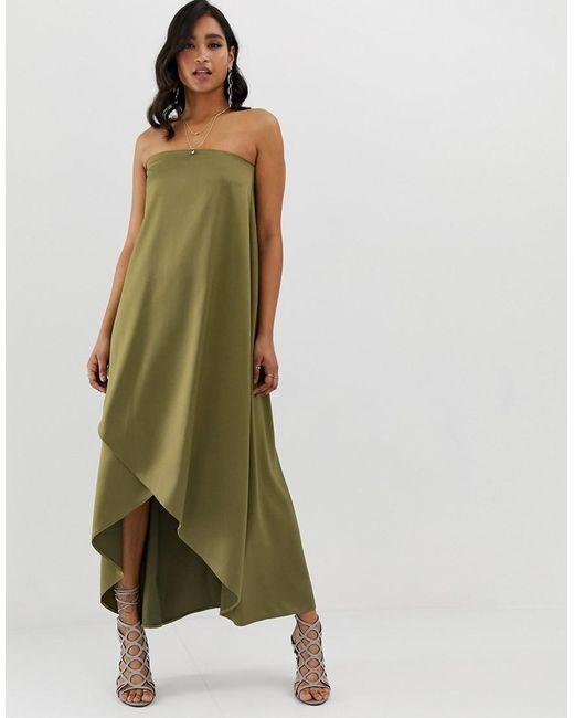 a54dfb3ddb306 ASOS - Green Satin Bandeau Maxi Dress - Lyst ...
