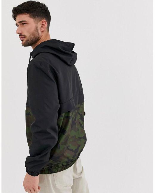 be00333abdf07 ... Bershka - Overhead Windbreaker Jacket With Camo Print In Black for Men  - Lyst · Visit ASOS