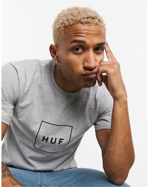 Camiseta con logo cuadrado en gris Essentials Huf de hombre de color Gray