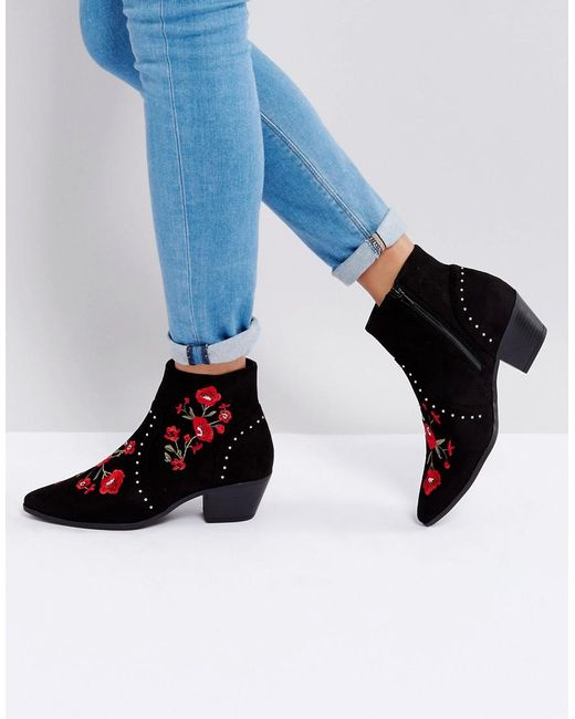 New Look - Black Festival Rose Embroidered Ankle Boots - Lyst