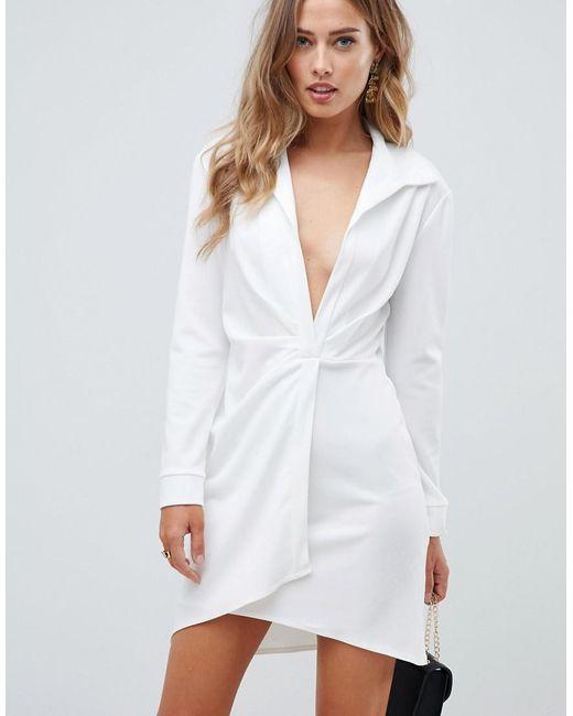 821b0a773d161 ASOS - White Sexy Drape Bodycon Shirt Mini Dress - Lyst ...