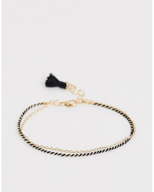 ASOS Black Friendship Bracelet With Fabric And Chain Rows