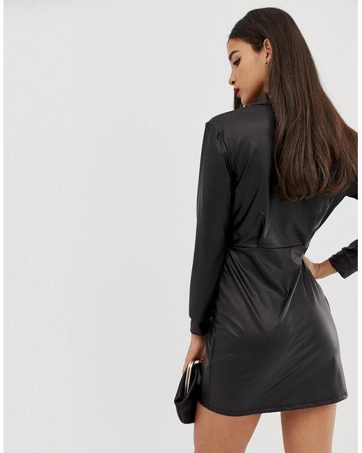 9ed1723cde2 ... ASOS - Black Sexy Drape Pu Bodycon Shirt Mini Dress - Lyst