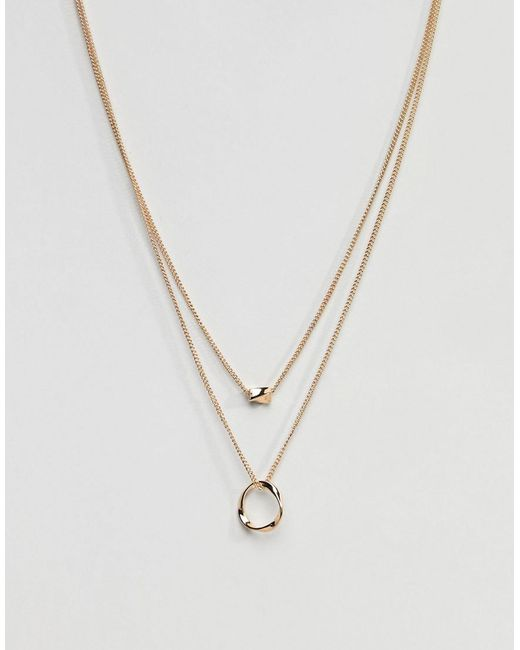 ASOS Metallic Twisted Nugget Bead And Hoop Multirow Necklace