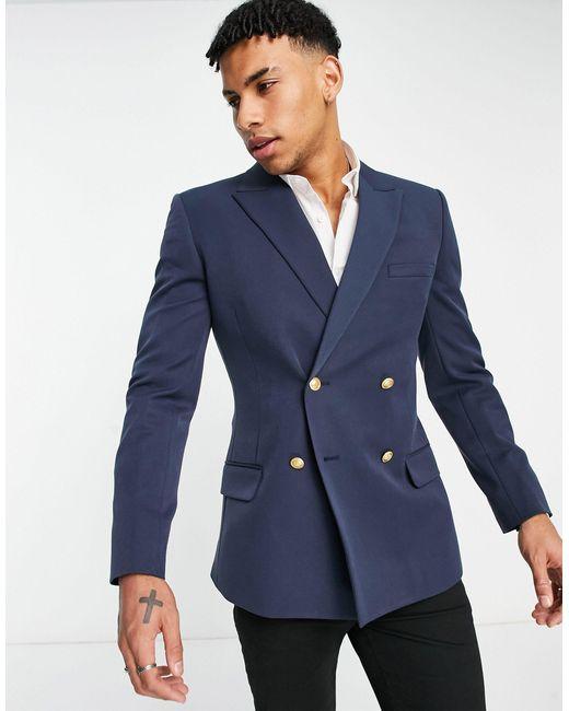 Темно-синий Двубортный Пиджак Облегающего Кроя ASOS для него, цвет: Blue