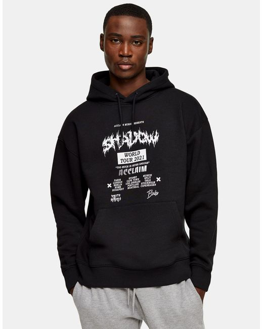 Topman Black Hoodie With White Shadow Print for men