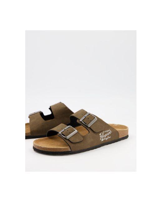 Original Penguin Brown Buckle Footbed Sandals for men