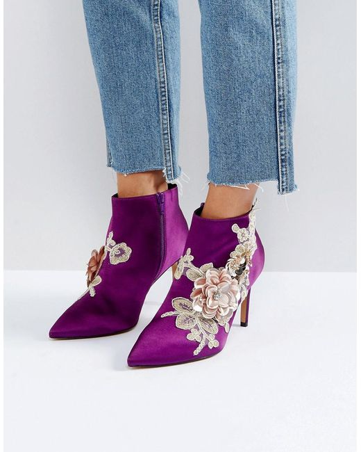 ASOS | Purple Elegance Embellished Pointed Ankle Boots | Lyst
