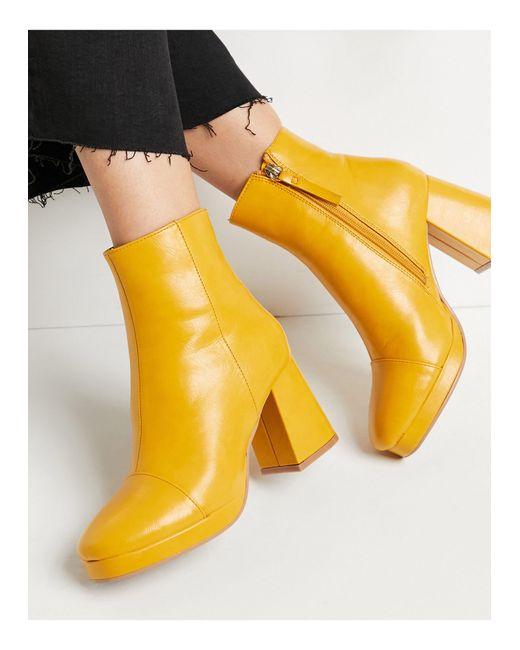 Ботинки Горчичного Цвета На Платформе ASOS, цвет: Yellow