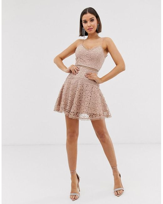 Womens Natural Cami Skater Dress In Floral Crochet Lace In Latte