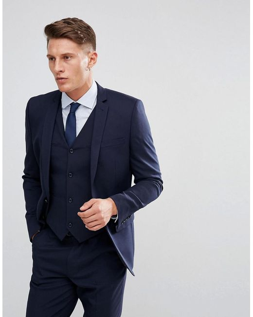 ASOS - Blue Slim Suit Jacket In Navy for Men - Lyst