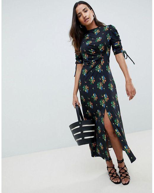 ASOS DESIGN Maternity city maxi tea dress with split in black floral - Multi Asos Maternity nY6PG