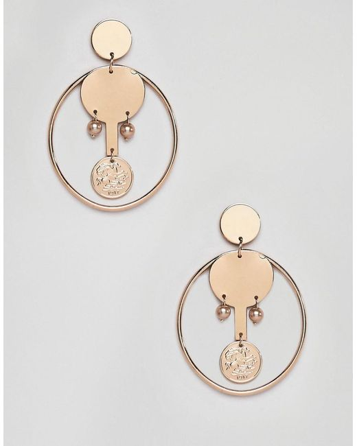 Mango - Metallic Coin And Hoop Earrings In Gold - Lyst