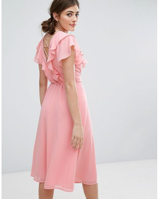 New Look | Pink Ruffle Sleeve Lattice Back Midi Dress | Lyst