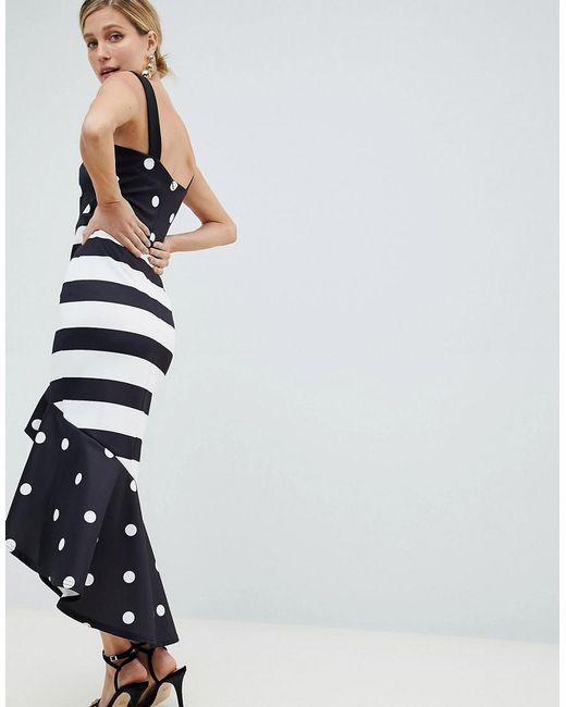 6f524c93212 Women's Black Hi-low Frill Midi Dress In Monochrome Print Mash Up