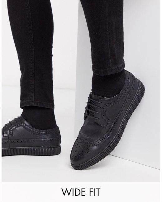 Черные Броги-криперы Из Искусственной Кожи Для Широкой Стопы ASOS для него, цвет: Black