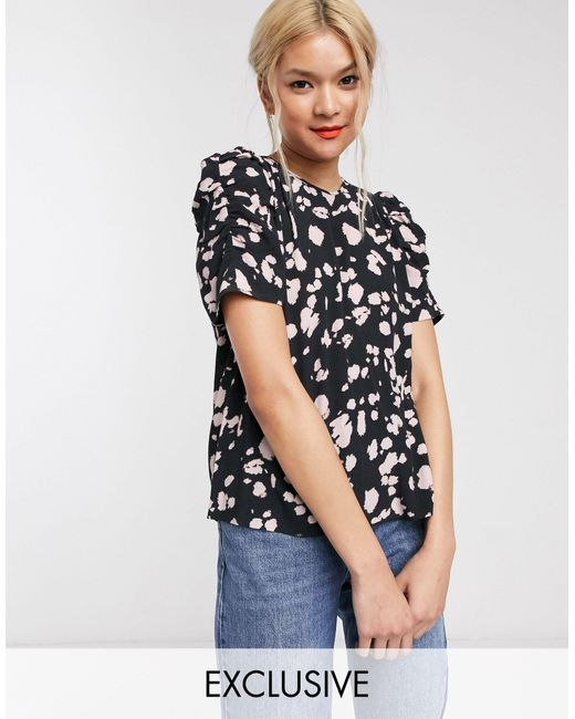 Whistles Pink Exclusive Spot Print Puff Sleeve Top