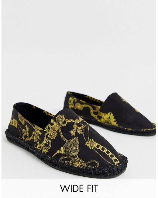 cf7bd7325e6 ASOS - Black Wide Fit Espadrilles In Gold Chain Print for Men - Lyst ...