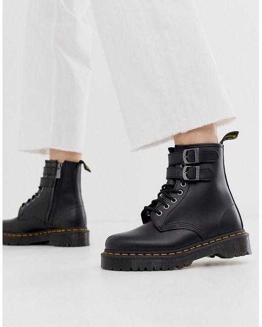 Черные Кожаные Ботинки На Массивной Подошве С Пряжками Dr. Martens, цвет: Black