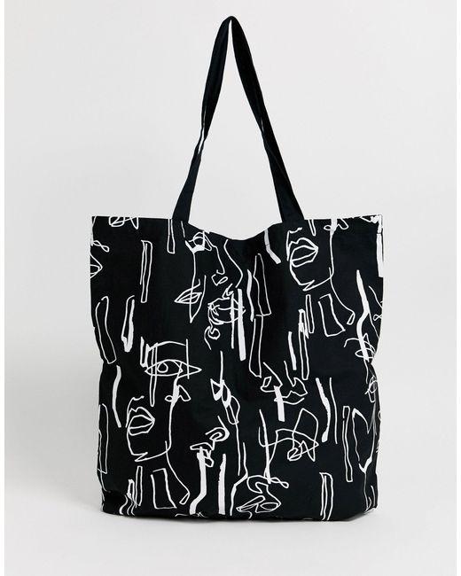 Большая Хлопковая Сумка-шопер С Абстрактным Принтом ASOS, цвет: Black