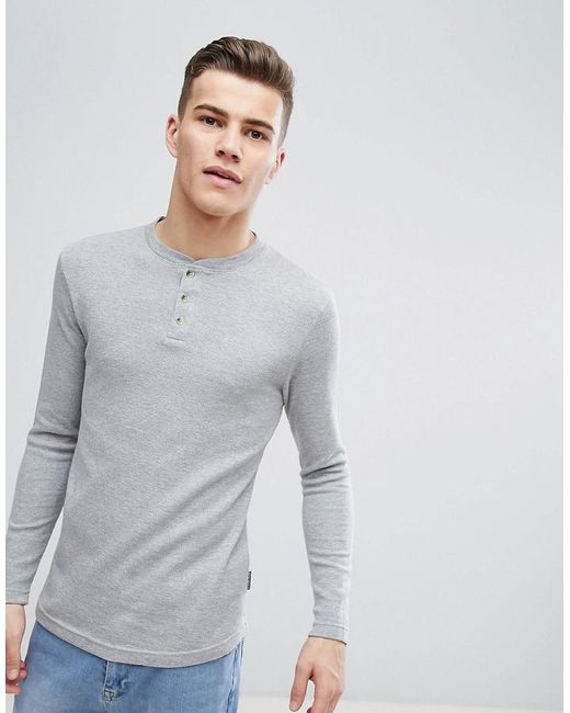 63b697c8 D-Struct - Gray Grandad Neck Long Sleeve Top for Men - Lyst ...
