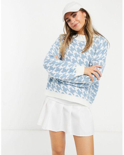 X Saffron Barker - Pull en maille motif pied-de-poule à manches ballon In The Style en coloris Blue