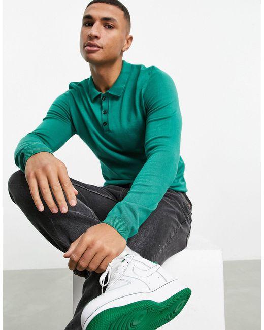 Трикотажная Футболка-поло С Длинными Рукавами -зеленый Цвет Bolongaro Trevor для него, цвет: Green