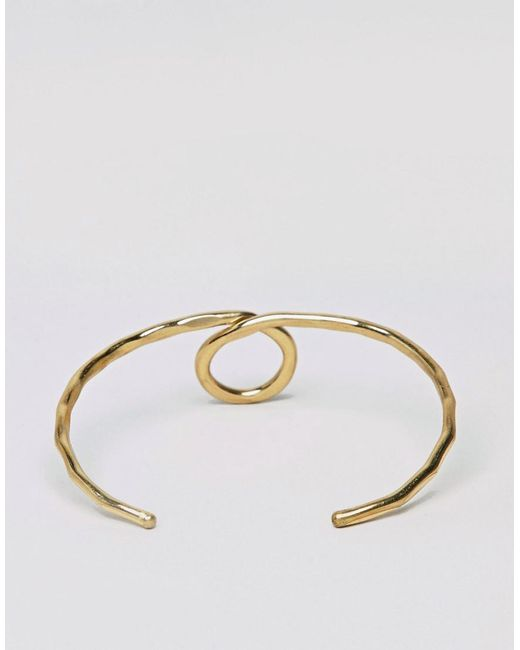 DESIGN Hammered Loop Cuff Bracelet - Gold Asos W4NTBYpPw