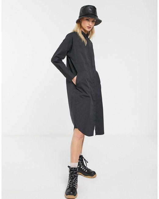 Серое Платье-рубашка С Карманами В Стиле Милитари -серый Monki, цвет: Gray