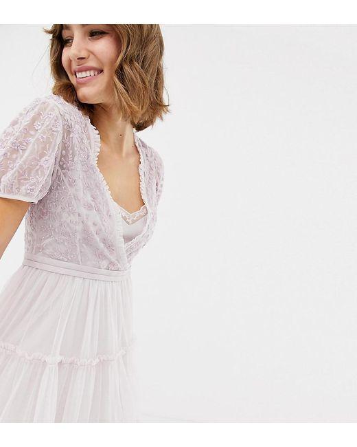 04d7505e7 Vestido midi de tul bordado con manga japonesa en lavanda de mujer