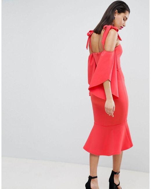 True Violet Red Bardot Midi Dress With Pephem