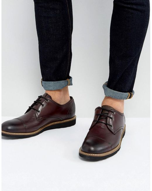 Original Penguin - Red Toe Cap Derby Shoes In Bordo for Men - Lyst