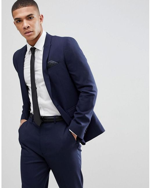 ASOS - Blue Skinny Suit Jacket In Navy for Men - Lyst